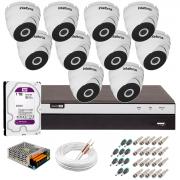 Kit 10 Câmeras VHD 3220 D G5 + DVRIntelbras + HD 1TB para Armazenamento + App Grátis de Monitoramento, Câmeras Full HD 1080p 20m Infravermelho de Visão Noturna Intelbras + Fonte, Cabos e Acessórios