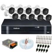 Kit 10 Câmeras de Segurança Full HD 1080p VHD 3230 B G6 + DVR Intelbras MHDX 1116 1080p de 16 Canais + Acessórios