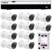 Kit 10 Câmeras de Segurança Full HD 1080p VHD 3230B G4 + DVR Intelbras Full HD + HD WD Purple 2TB + Acessórios