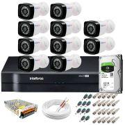 Kit 10 Câmeras + DVR Intelbras + HD 1 TB + App de Monitoramento, Câmeras HD 720p 20m Infravermelho de Visão Noturna + Fonte, Cabos e Acessórios