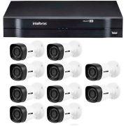 Kit 10 Câmeras de Segurança HD 720p HB Tech + DVR Intelbras Multi HD + Acessórios