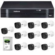 Kit 10 Câmeras de Segurança HD 720p HB Tech + DVR Intelbras Multi HD +  HD para Gravação 1TB + Acessórios