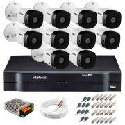 Kit 10 Câmeras VHD 3120 B G5 + DVR Intelbras + App Grátis de Monitoramento, HD 720p 20m Infravermelho + Cabos e Acessórios