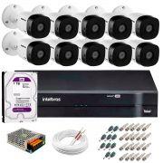 Kit 10 Câmeras VHD 3130 B G5 + DVR Intelbras + HD 1TB para Armazenamento +  App Grátis de Monitoramento, Câmeras HD 720p 30m Infravermelho de Visão Noturna Intelbras + Fonte, Cabos e Acessórios