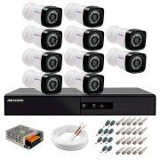 Kit 10 Câmeras + DVR Hikvision + App de Monitoramento, Câmeras Full HD 1080 Lite 25m Infravermelho de Visão Noturna Tudo Forte Completo com Acessórios