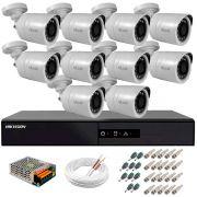 Kit 10 Câmeras + DVR Hikvision + Fonte, Cabos e Acessórios - Câmeras Hilook THC B120C-P Full HD 1080 Lite 20m Infra e Visão Noturna