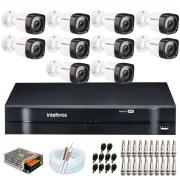 Kit 10 Câmeras HD  720p 20m Infravermelho de Visão Noturna + DVR Intelbras + App Grátis de Monitoramento + Fonte, Cabos e Acessórios