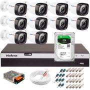 Kit 10 Câmeras Full HD 1080p 20m Infravermelho de Visão Noturna + DVR Intelbras + HD 1 TB + App Grátis de Monitoramento + Fonte, Cabos e Acessórios