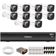 Kit 10 Câmeras Full HD 1080p 20m Infravermelho de Visão Noturna + DVR iMHDX 3016 Intelbras + App Grátis de Monitoramento + Fonte, Cabos e Acessórios