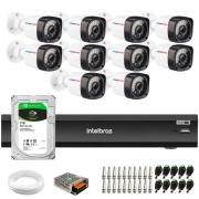 Kit 10 Câmeras Full HD 1080p 20m Infravermelho de Visão Noturna + DVR iMHDX 3016 Intelbras + HD 1 TB + App Grátis de Monitoramento + Fonte, Cabos e Acessórios