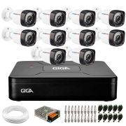 Kit 10 Câmeras Full Hd 1080p + Dvr Giga Security + App Grátis de Monitoramento, Câmeras 20m Infravermelho de Visão Noturna + Hd + Fonte, Cabos e Acessórios
