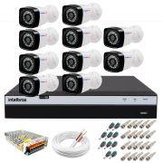 Kit 10 Câmeras + DVR Intelbras + App Grátis de Monitoramento, Câmeras Full HD 1080p 20m Infravermelho de Visão Noturna + Fonte, Cabos e Acessórios