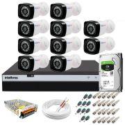 Kit 10 Câmeras + DVR Intelbras + HD 1 TB + App de Monitoramento, Câmeras Full HD 1080p 20m Infravermelho de Visão Noturna + Fonte, Cabos e Acessórios