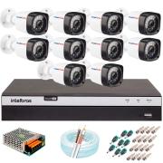 Kit 10 Câmeras Full HD 1080p 20m Infravermelho de Visão Noturna + DVR Intelbras + App Grátis de Monitoramento + Fonte, Cabos e Acessórios