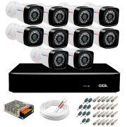 Kit 10 Câmeras HD 720p + DVR Giga Security + App Grátis de Monitoramento, Câmeras 20m Infravermelho de Visão Noturna + Fonte, Cabos e Acessórios
