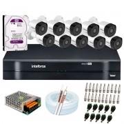 Kit 10 Câmeras Intelbras VHD 3230 B G6 Full HD 1080 Lite + DVR Intelbras + Acessórios Completo - Câmeras com 30m Infravermelho de Visão Noturna
