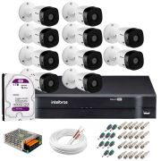 Kit 10 Câmeras Intelbras VHL 1220 B Full HD 1080 Lite + DVR Intelbras + Acessórios Completo - Câmeras com 20m Infravermelho de Visão Noturna
