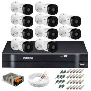 Kit 10 Câmeras Intelbras VHL 1220 B Full HD 1080 Lite + DVR Intelbras - Câmeras com 20m Infravermelho de Visão Noturna + Fonte, Cabos e Acessórios