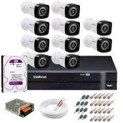 Kit 10 Câmeras Tudo Forte Full HD 1080 Lite + DVR Intelbras + Acessórios Completo - Câmeras com 25m Infravermelho de Visão Noturna
