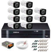 Kit 10 Câmeras Tudo Forte Full HD 1080 Lite + DVR Intelbras - Câmeras com 25m Infravermelho de Visão Noturna + Fonte, Cabos e Acessórios