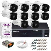 Kit 10 Câmeras VHD 1010 B G5 + DVR Intelbras + HD 1TB para Armazenamento + App Grátis de Monitoramento, Câmeras HD 720p + Fonte, Cabos e Acessórios