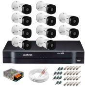 Kit 10 Câmeras VHD 1120 B G5 + DVR Intelbras + App de Monitoramento, Câmeras HD 720p 20m Infravermelho Intelbras + Fonte, Cabos e Acessórios