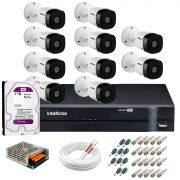 Kit 10 Câmeras VHD 1120 B G5 + DVR Intelbras + HD 1TB para Armazenamento + App Grátis de Monitoramento, Câmeras HD 720p 20m Infravermelho