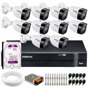 Kit 10 Câmeras VHD 1120 B G6 + DVR Intelbras + HD 2 TB + App + Fonte, Cabos e Acessórios