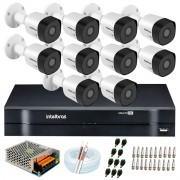 Kit 10 Câmeras VHD 3120 B G6 + DVR Intelbras + App Grátis de Monitoramento, HD 720p 20m Infravermelho + Cabos e Acessórios