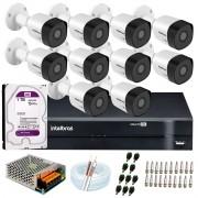 Kit 10 Câmeras VHD 3120 B G6 + DVR Intelbras + HD 1TB + App Grátis de, HD 720p 20m Infravermelho + Cabos e Acessórios