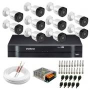 Kit 10 Câmeras VHD 3130 B G6 + DVR Intelbras + App Grátis de Monitoramento, Câmeras HD 720p 30m Infravermelho de Visão Noturna Intelbras + Fonte, Cabos e Acessórios