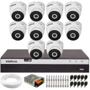 Kit 10 Câmeras VHD 3220 Full HD 1080p + DVR Intelbras MHDX 3116 + App Grátis de Monitoramento, 20m Infravermelho de Visão Noturna + Fonte, Cabos e Acessórios