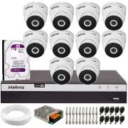 Kit 10 Câmeras VHD 3220 Full HD 1080p + DVR Intelbras MHDX 3116 + HD 1TB + App Grátis de Monitoramento, 20m Infravermelho de Visão Noturna + Fonte, Cabos e Acessórios