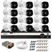 Kit 12 Câmeras 2K VHD 1420B + DVR Intelbras + App Grátis de Monitoramento, Câmeras 20m Infravermelho de Visão Noturna + Fonte, Cabos e Acessórios