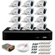 Kit 12 Câmeras  5MP + DVR Giga +  App de Monitoramento, Câmeras 30m Infravermelho de Visão Noturna Giga Security GS0047 Completo com Acessórios