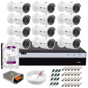 Kit 12 Câmeras de Segurança 4MP 2k Intelbras VHD 3430 B + DVR Intelbras 4K + HD 1TB + Acessórios