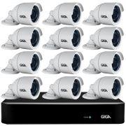 Kit 12 Câmeras Full HD + DVR Giga Security + App Grátis de Monitoramento, Câmeras GS0273 1080p 30m Infravermelho de Visão Noturna + Fonte, Cabos e Acessórios