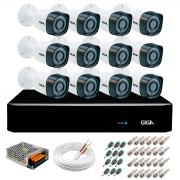 Kit 12 Câmeras de Segurança Full HD 1080p Giga Security gs0271  + DVR Giga Security 2MP + Acessórios