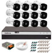 Kit 12 Câmeras de Segurança Full HD 1080p Intelbras VHD 1220B IR + DVR Intelbras Full HD 16 Ch + Acessórios