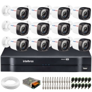 Kit 12 Câmeras de Segurança Full HD 1080p Lite 20 Metros Infravermelho + DVR Intelbras + HD + Cabos e Acessórios