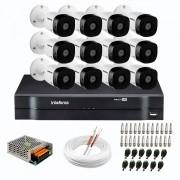 Kit 12 Câmeras de Segurança Full HD 1080p VHD 1220 B G6 + DVR Intelbras MHDX 1116 de 16 Canais 1080p Lite + Acessórios