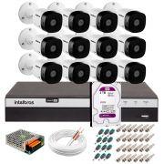 Kit 12 Câmeras de Segurança Full HD 1080p VHD 1220B IR + DVR Intelbras Full HD + HD WD Purple 2TB + Acessórios