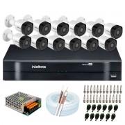 Kit 12 Câmeras de Segurança Full HD 1080p VHD 3230 B G6 + DVR Intelbras MHDX 1116 1080p de 16 Canais + Acessórios