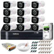 Kit 12 Câmeras + DVR Intelbras + HD 1 TB + App de Monitoramento, Câmeras HD 720p 20m Infravermelho de Visão Noturna + Fonte, Cabos e Acessórios