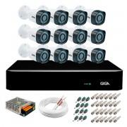 Kit 12 Câmeras de Segurança HD 720p Giga Security GS0018  + DVR Giga Security Multi HD + Acessórios