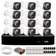 Kit 12 Câmeras de Segurança HD 720p Giga Security GS0018 + DVR Giga Security  + Acessórios