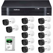 Kit 12 Câmeras de Segurança HD 720p HB Tech + DVR Intelbras Multi HD +  HD para Gravação 1TB + Acessórios