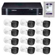 Kit 12 Câmeras de Segurança HD 720p Intelbras VHD 3120B G3 + DVR Intelbras Multi HD + HD WD Purple 1TB + Acessórios