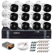 Kit 12 Câmeras VHD 3120 B G5 + DVR Intelbras + App Grátis de Monitoramento, HD 720p 20m Infravermelho + Cabos e Acessórios