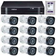 Kit 12 Câmeras de Segurança HD 720p Intelbras VHD 3130B G3 + DVR Intelbras Multi HD + HD para Gravação + Acessórios